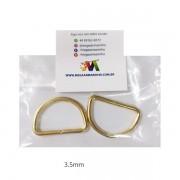 Meia Argola Dourada Metal  2 unidades 3,5MM