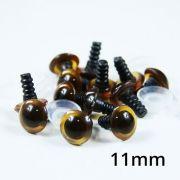 Olhos Para Amigurumi (Marrom fumê Nº 11 com Trava de Segurança) 5 pares