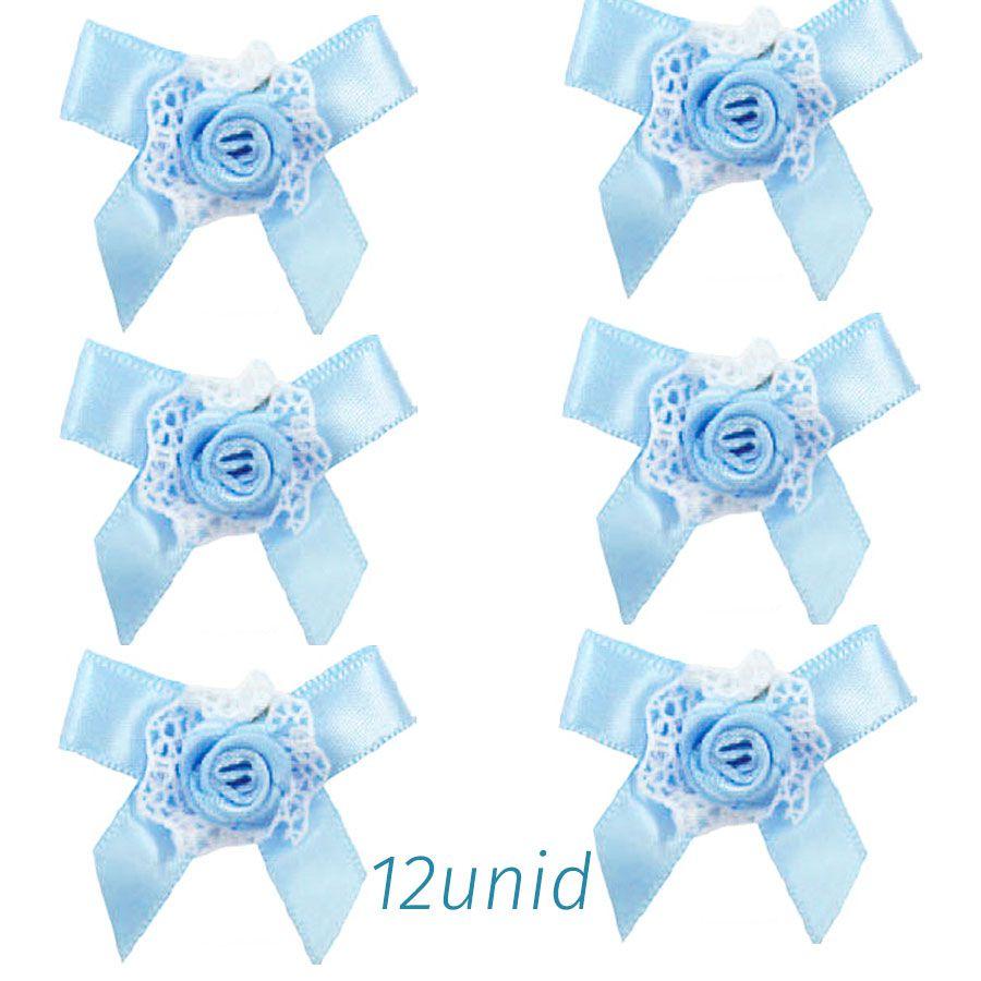 Aplicação Laço c/ Rococó Azul Bebê Pc c/ 12