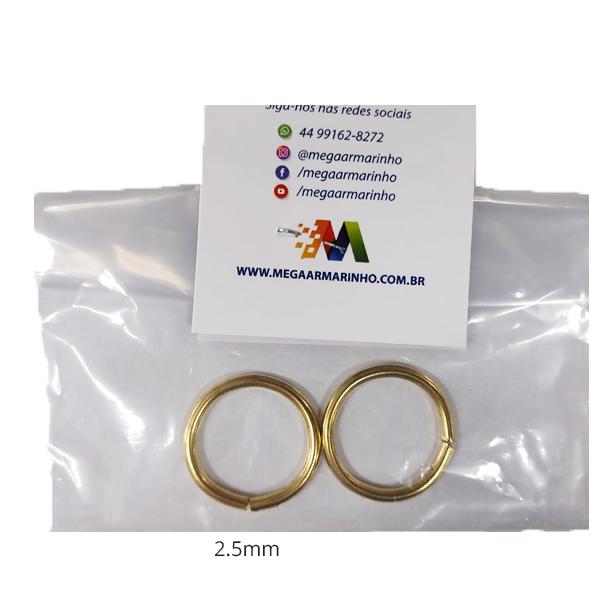 Argola Dourada Metal  2 unidades 2,5MM