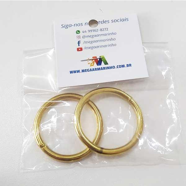 Argola Dourada Metal  2 unidades