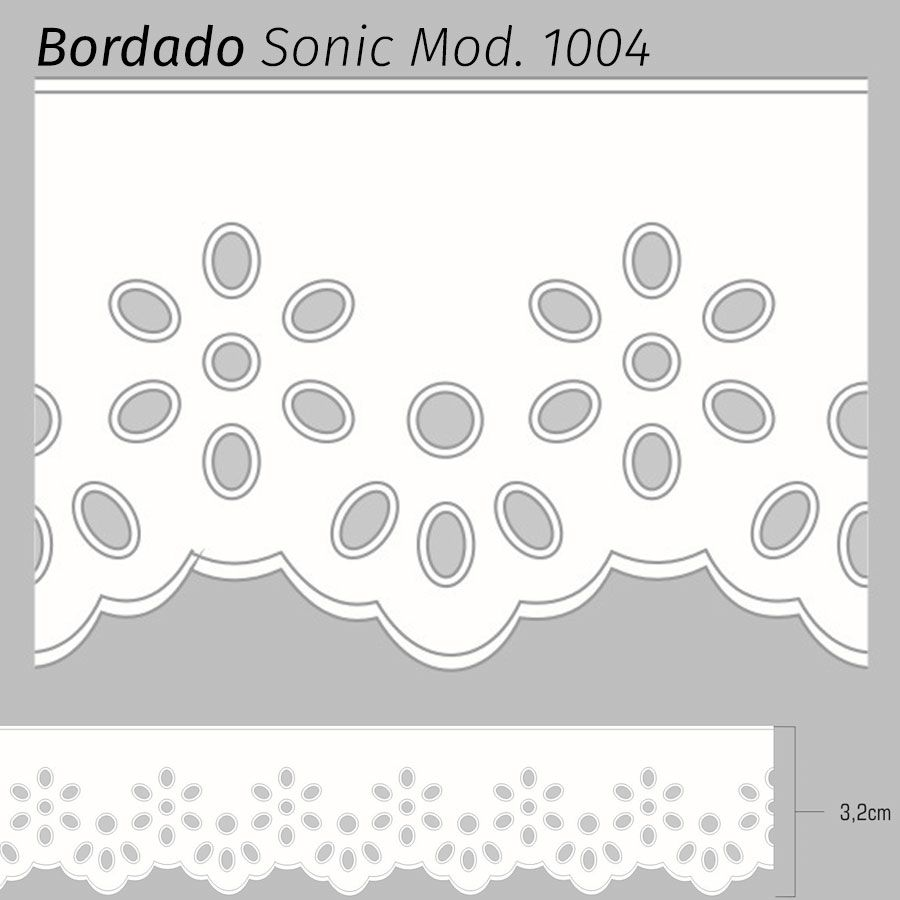 Bordado Sonic Branco 3,2cm x 10m Mod. 1004 ( 75% Poliéster 25% Algodão)