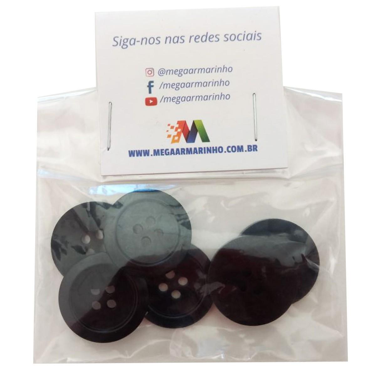 Botão Preto (10 Unidades) 2,2CM