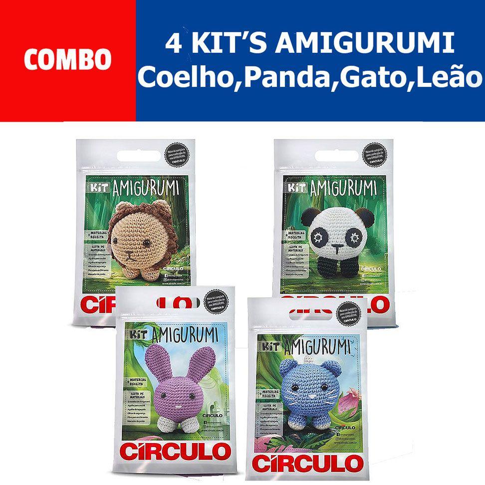 COMBO Com 4 Kit's Amigurumi Círculo (leão,gato,panda,coelho)