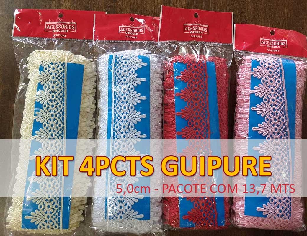 KIT GUIPURE - 4 pcts largura 5,0cm com 13,70 mts comprimento