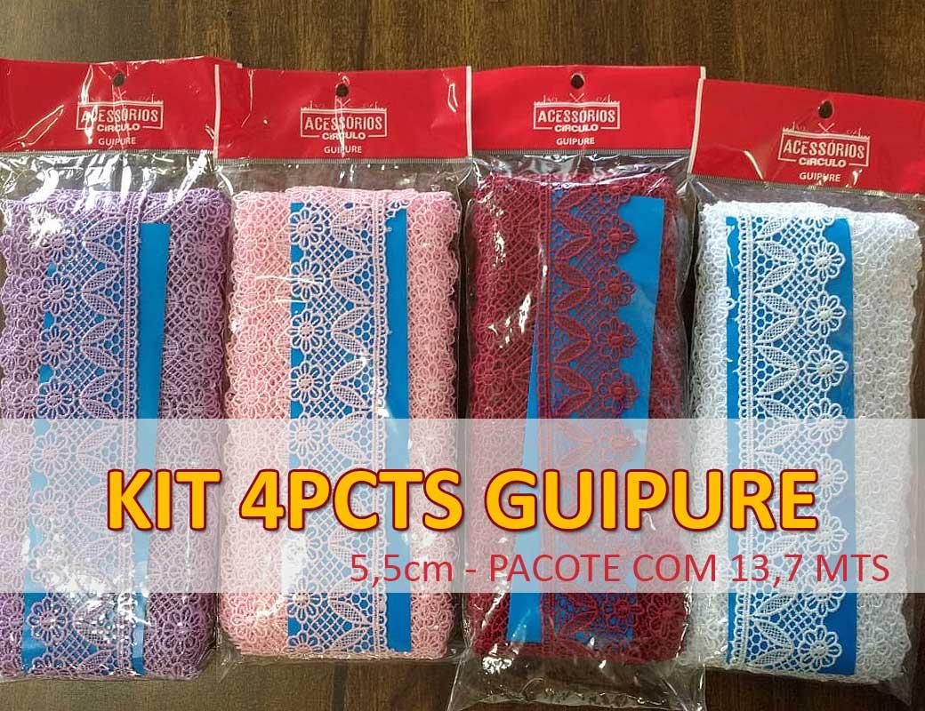 KIT GUIPURE - 4 pcts largura 5,5cm com 13,70 mts comprimento