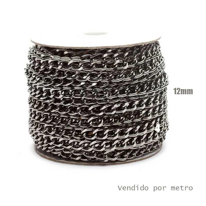 Corrente de Alumínio Onix 12mm - Vendido por metro