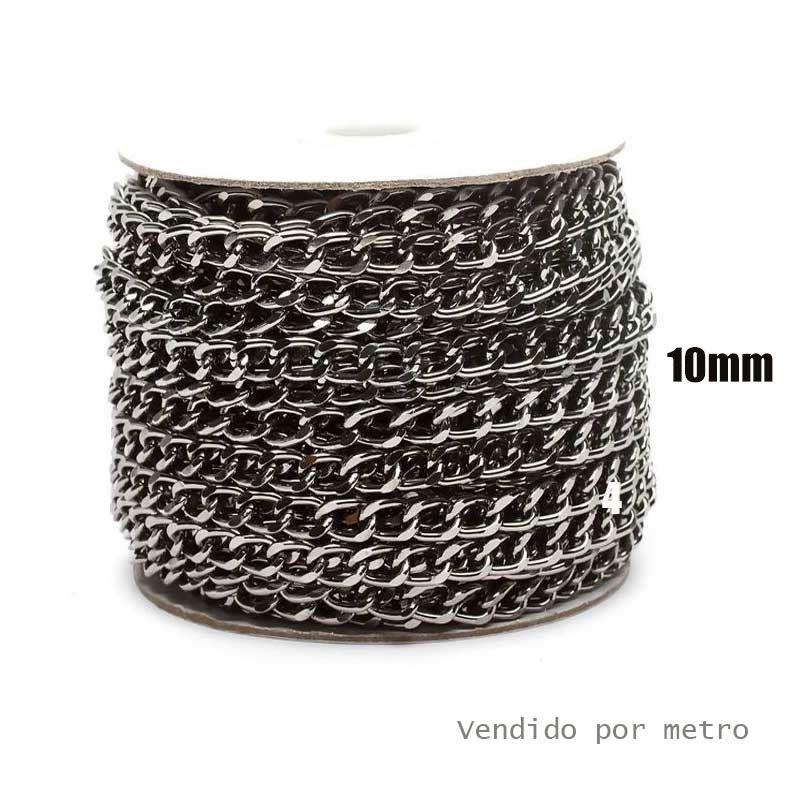 Corrente de Alumínio Onix 10mm - Vendido por metro