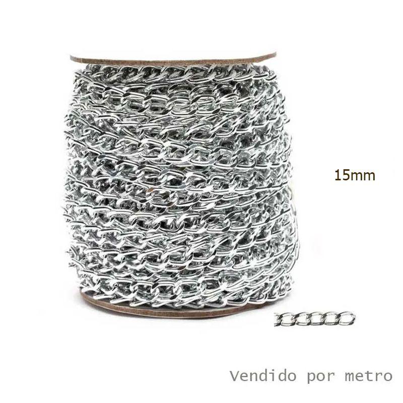 Corrente de Alumínio Prata 15mm - Vendido por metro