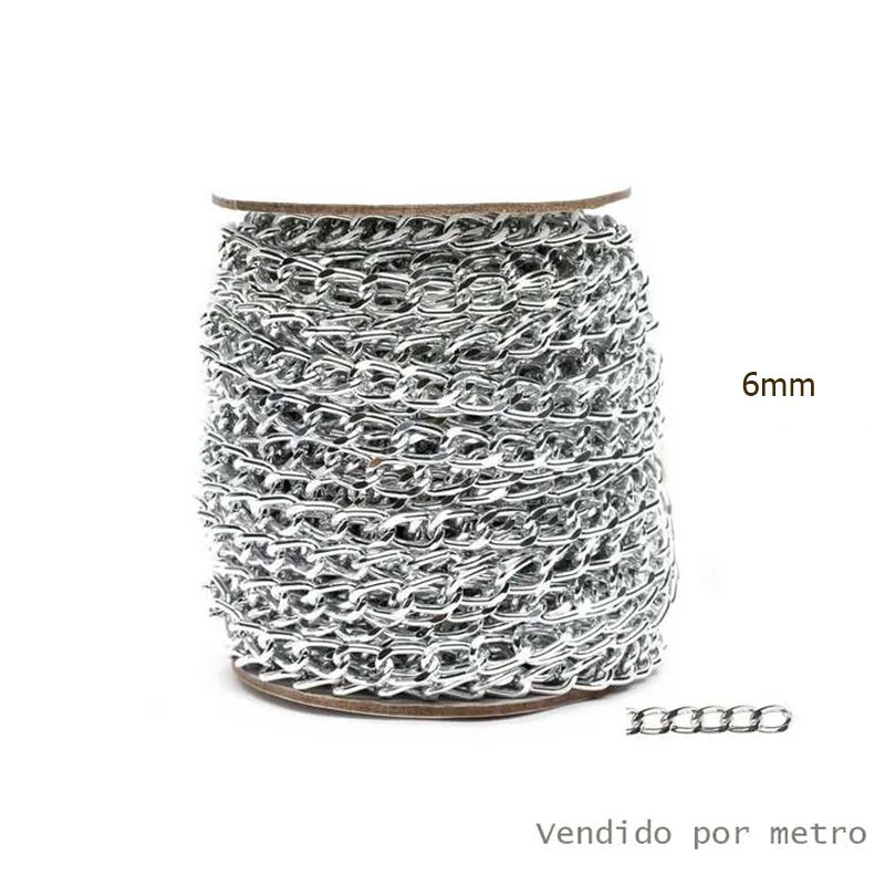 Corrente de Alumínio Prata 6mm - Vendido por metro