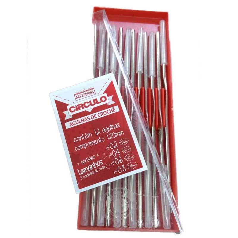 Kit Agulhas Crochê Aço inoxidável 12 Agulhas Sortidas 0.90mm à 1.5mm