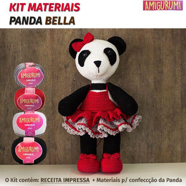 Kit Amigurumi Panda BELLA - Materiais com Receita Impressa