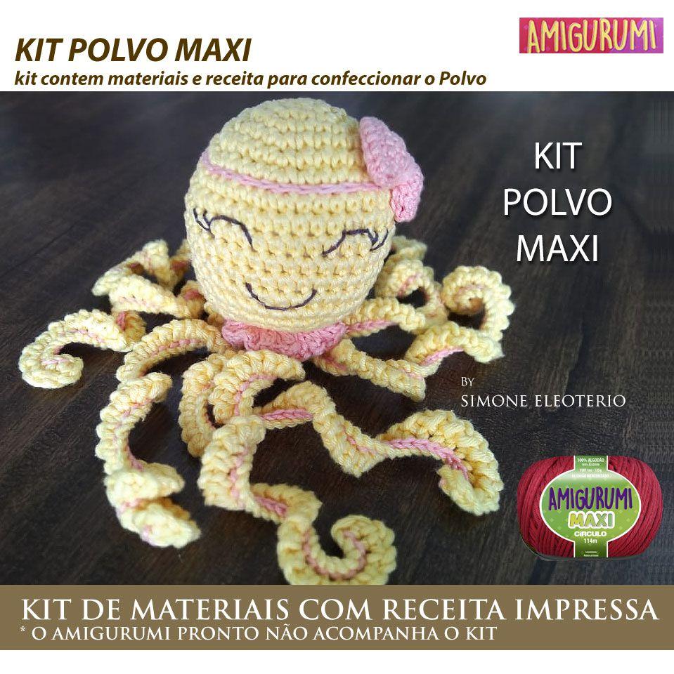 Kit Amigurumi Polvo Maxi - Materiais com Receita Impressa