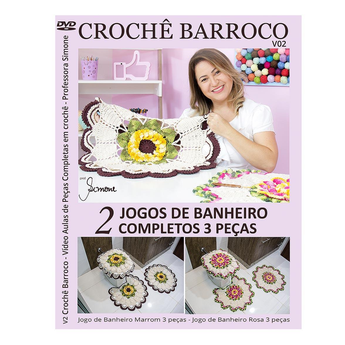 KIT Crochê Barroco com Simone Eleotério - Jogo de Banheiro Rosa