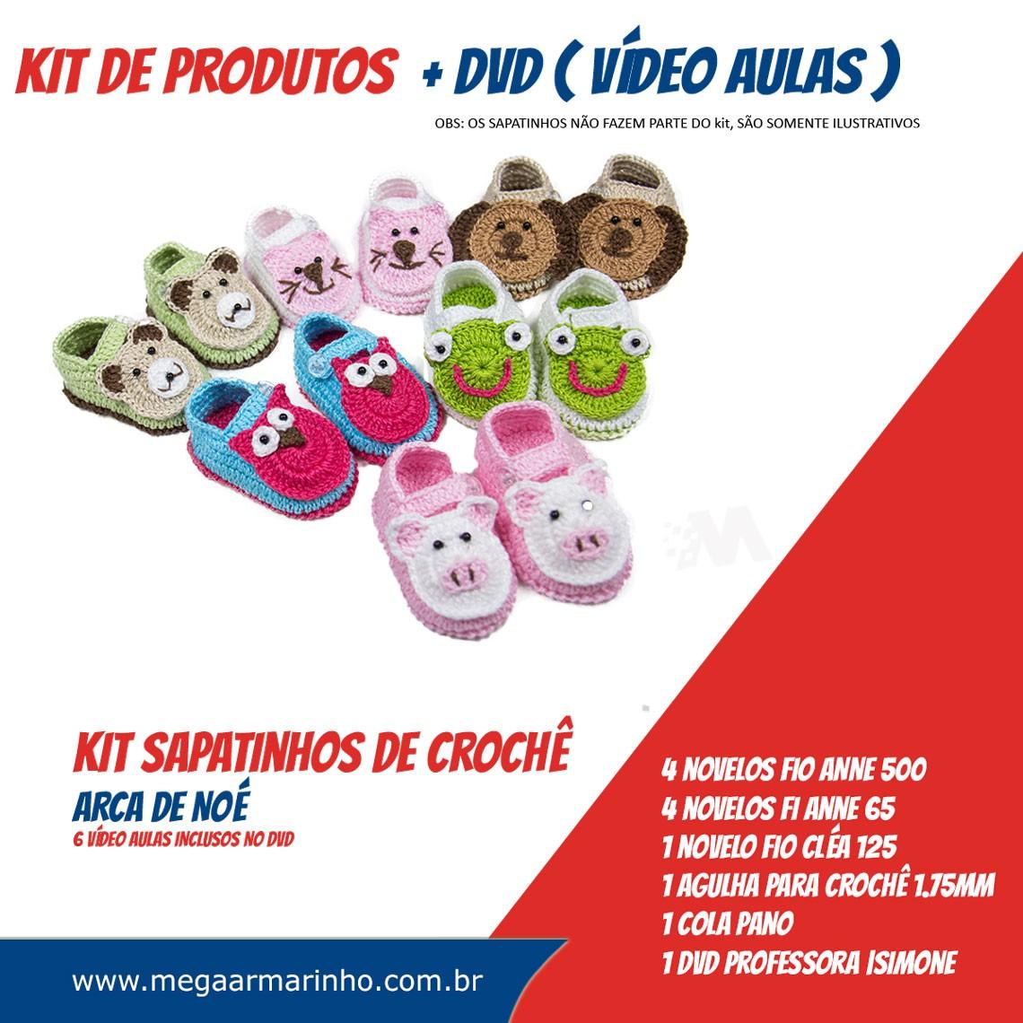 KIT de Sapatinhos em crochê ARCA DE NOÉ com DVD Professora Simone Eleotério