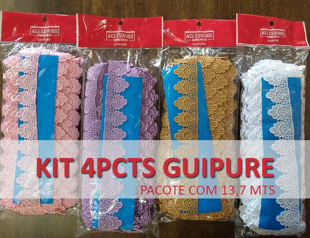 KIT GUIPURE - 4 pcts largura 3,5cm com 13,70 mts comprimento