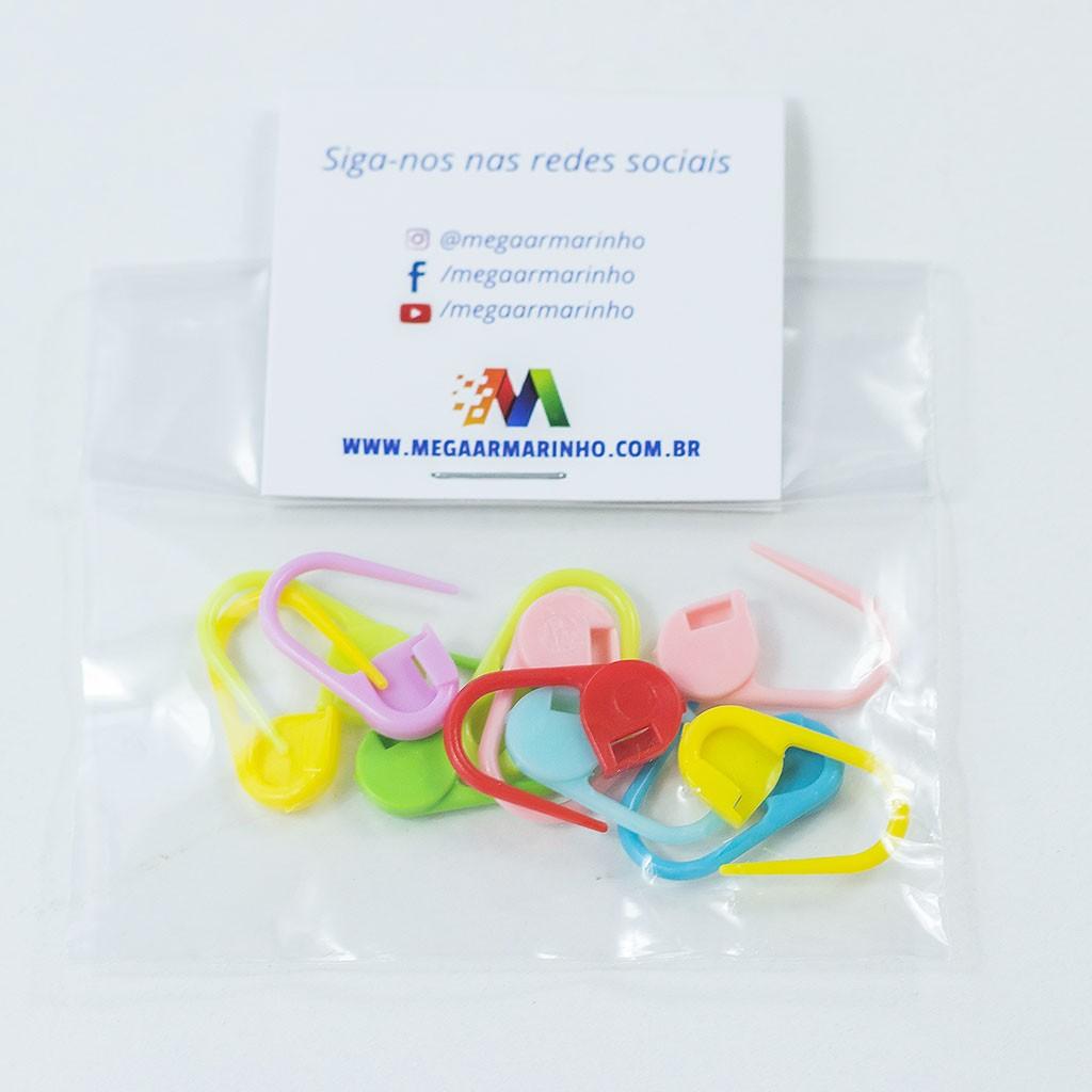 Marcador de pontos para crochê e tricô colorido c/ 10un
