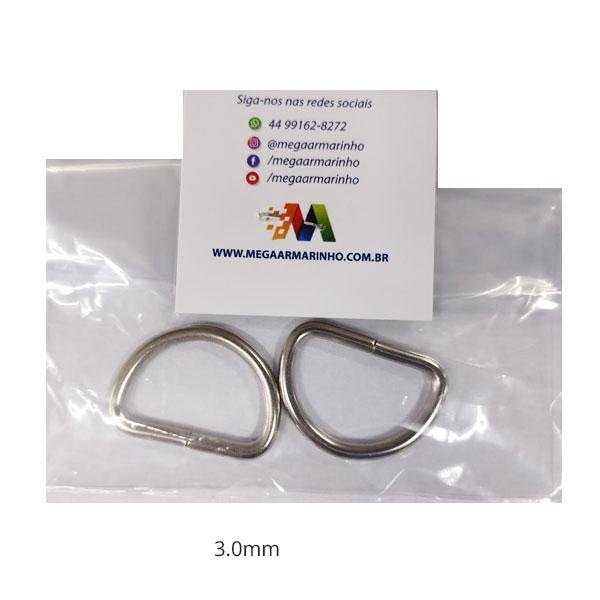 Meia Argola Prata Metal  2 unidades 3MM