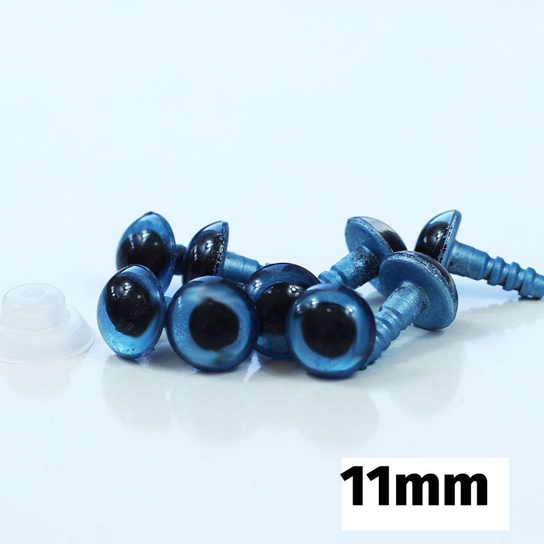 Olhos para Amigurumi (Azul Nº 11 com Trava de Segurança)  5 Pares