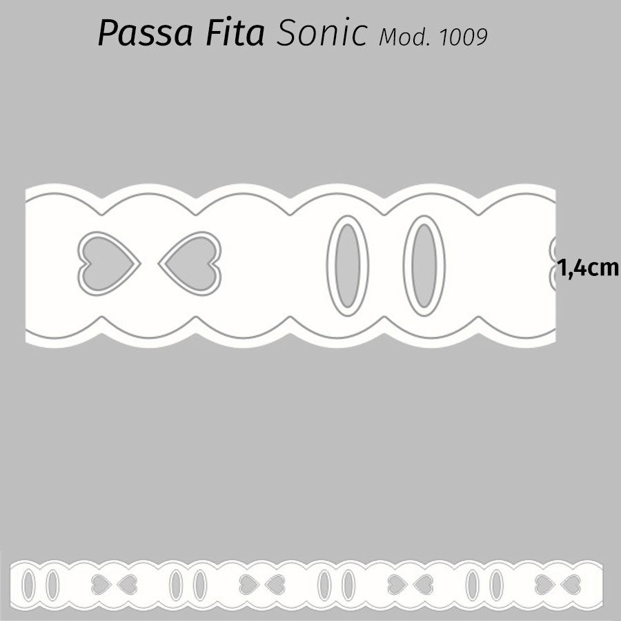 Passa Fita Sonic Branco 1,4cm x 10m Mod. 1009 ( 75% Poliéster 25% Algodão)