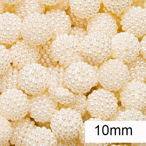 Pérola Craquelada cor marfim 10mm  pc 24 unidades