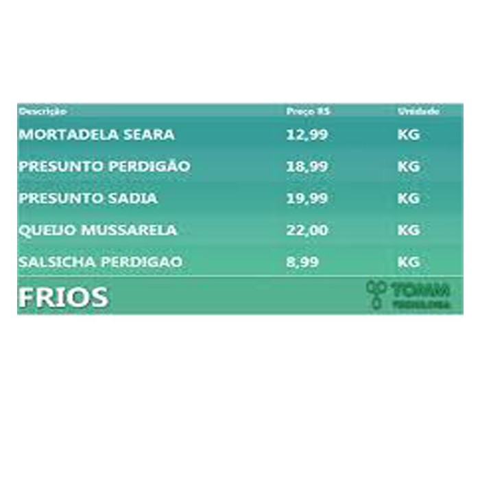 Tabela Eletrônica de Preços e Mídia TOMM com Mini Pc Android