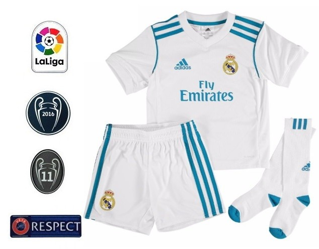 329c9a11d0 REAL MADRID NOVO KIT INFANTIL 2018, UNIFORME 1 BRANCO, DE 3 A 13 ANOS ...