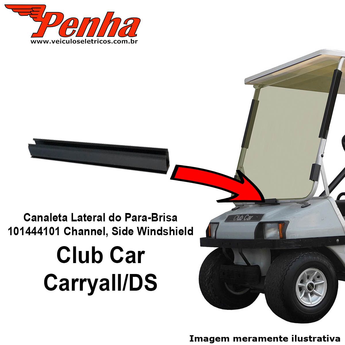Canaleta inferior do Para-brisa para veiculo elétrico Club Car Carryall