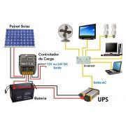 Kit Gerador Solar  de  640w - inversor 2000w 12V/220V, Bateria Estacionária 240Ah e cabos