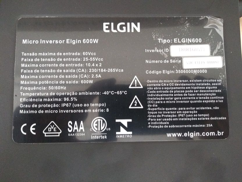 Micro Inversor Solar 600W - Elgin