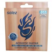 Jogo de Cordas p/ Violão Acústico 011 Custom Light Bronze 85 / 15 - Solez