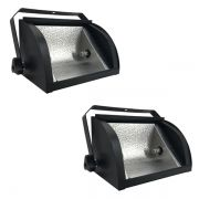 Kit 2 Refletores Mini Set Light + Lâmpada Palito Halógena 300w 110v 118mm