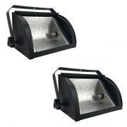 Kit 2 Refletores Mini Set Light + Lâmpada Palito Halógena 500w 110v 118mm