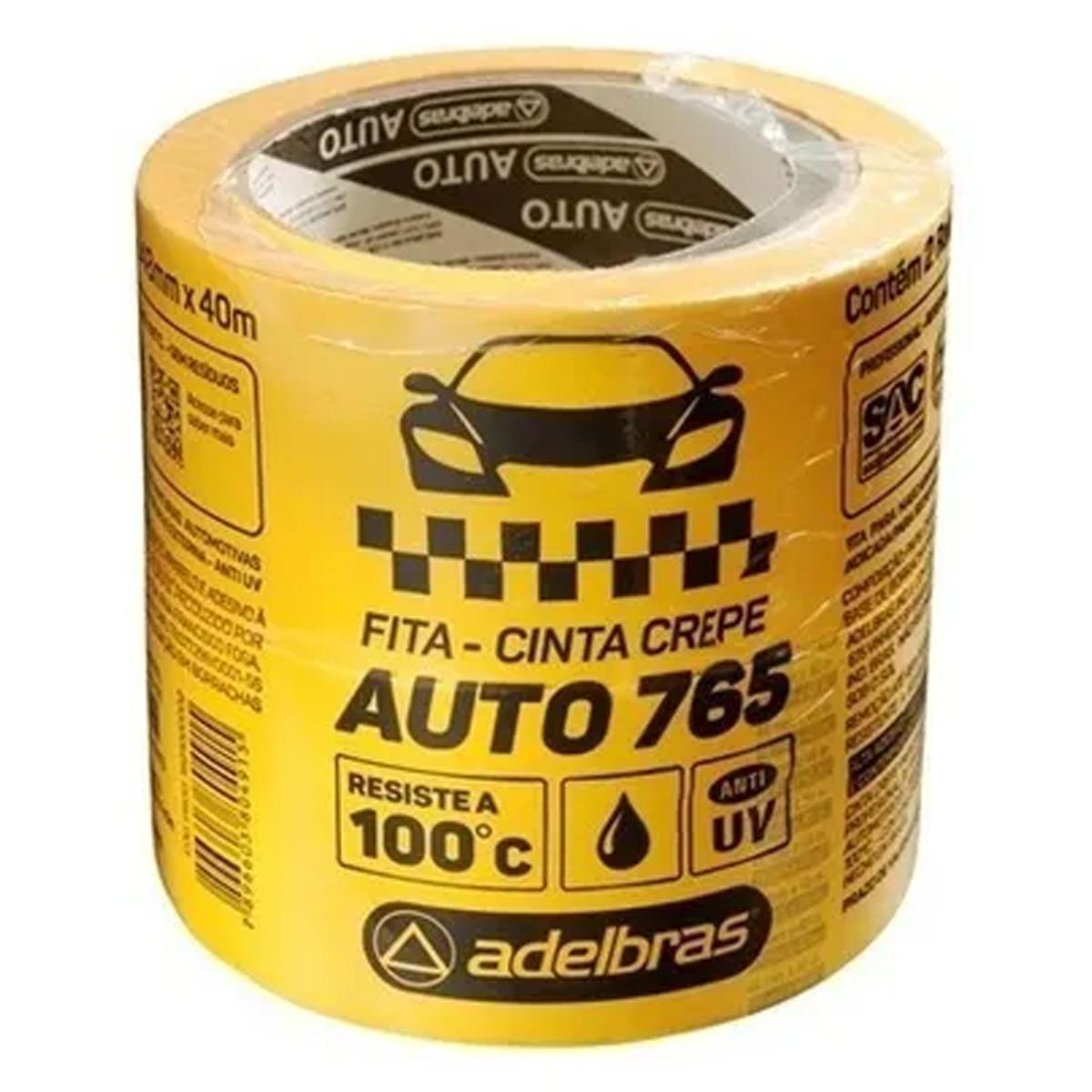Fita Crepe Automotiva Anti UV Amarela 48mm x 40mt - Adelbras  - RS Som e Luz!