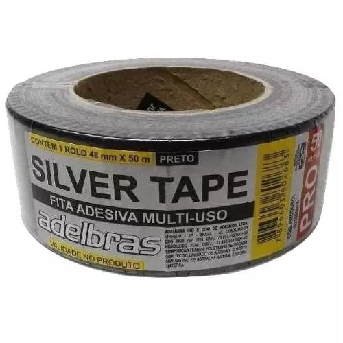 Fita Silver Tape Preta ( Pista de Danca / Multiuso ) 48mm x 10mt - Adelbras  - RS Som e Luz!