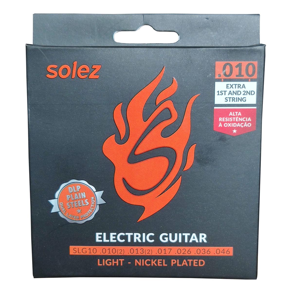 Jogo de Cordas p/ Guitarra 010 Leve - Solez  - RS Som e Luz!