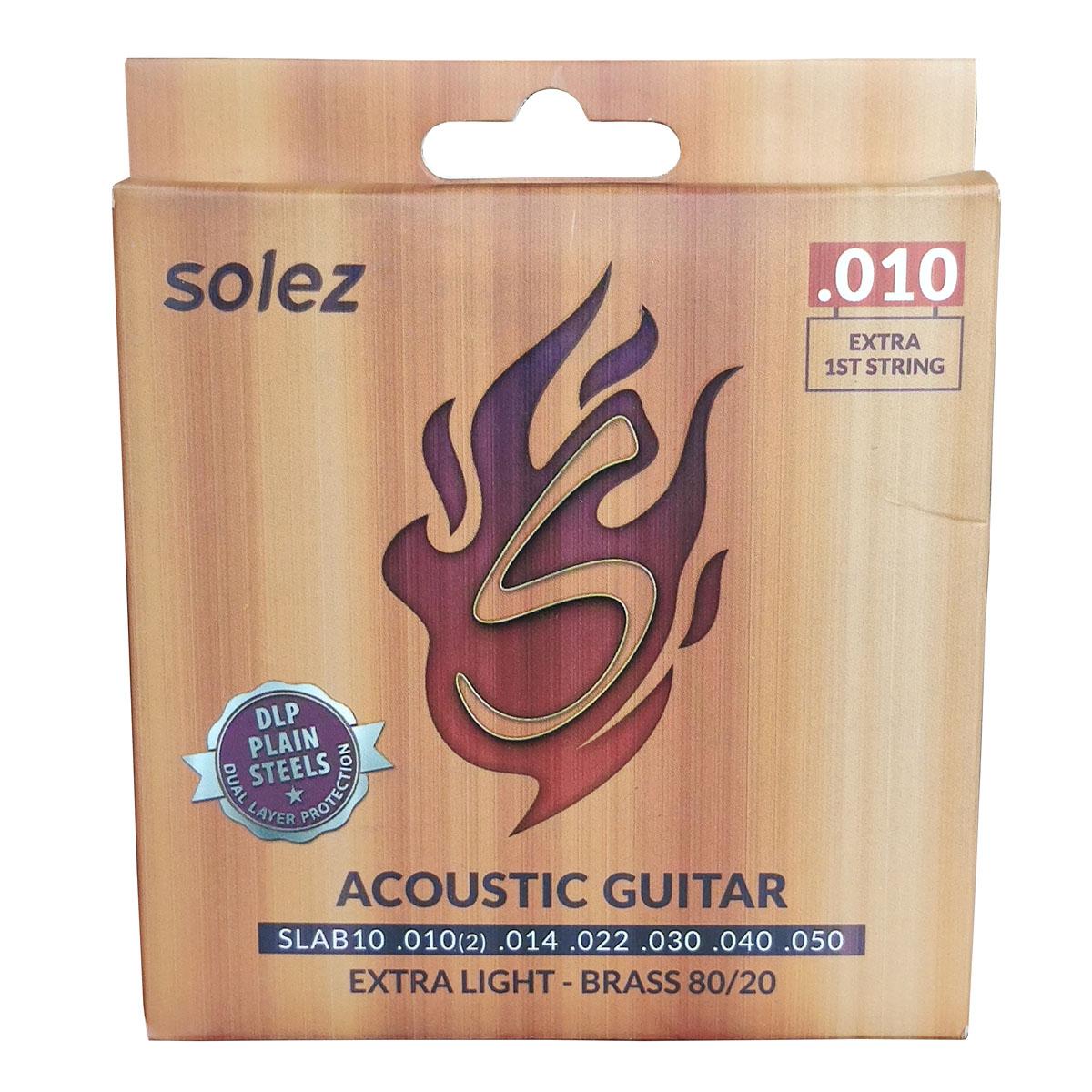 Jogo de Cordas p/ Violão Acústico 010 Tensão Extra Leve Brass 80 / 20 - Solez  - RS Som e Luz!