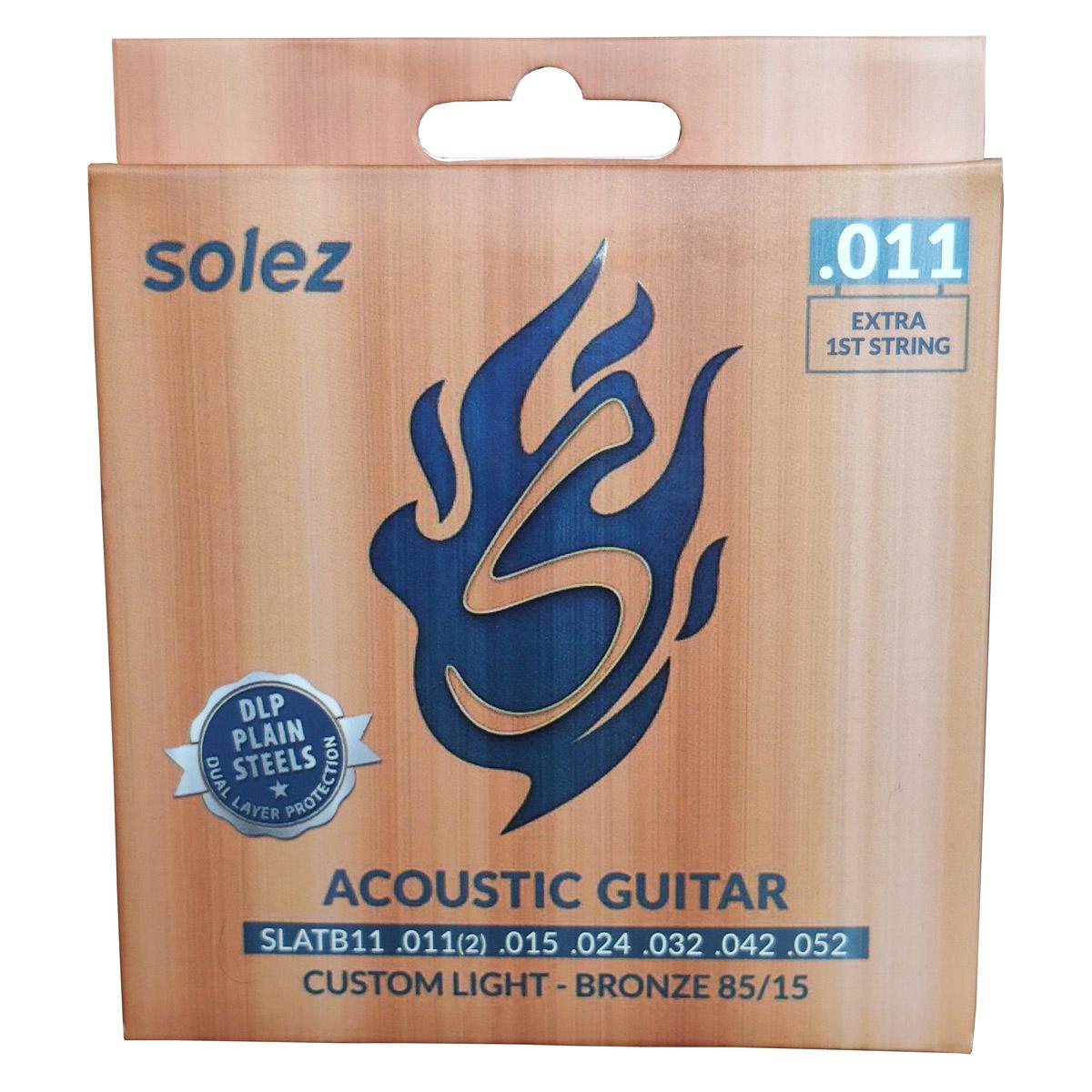 Jogo de Cordas p/ Violão Acústico 011 Custom Light Bronze 85 / 15 - Solez  - RS Som e Luz!
