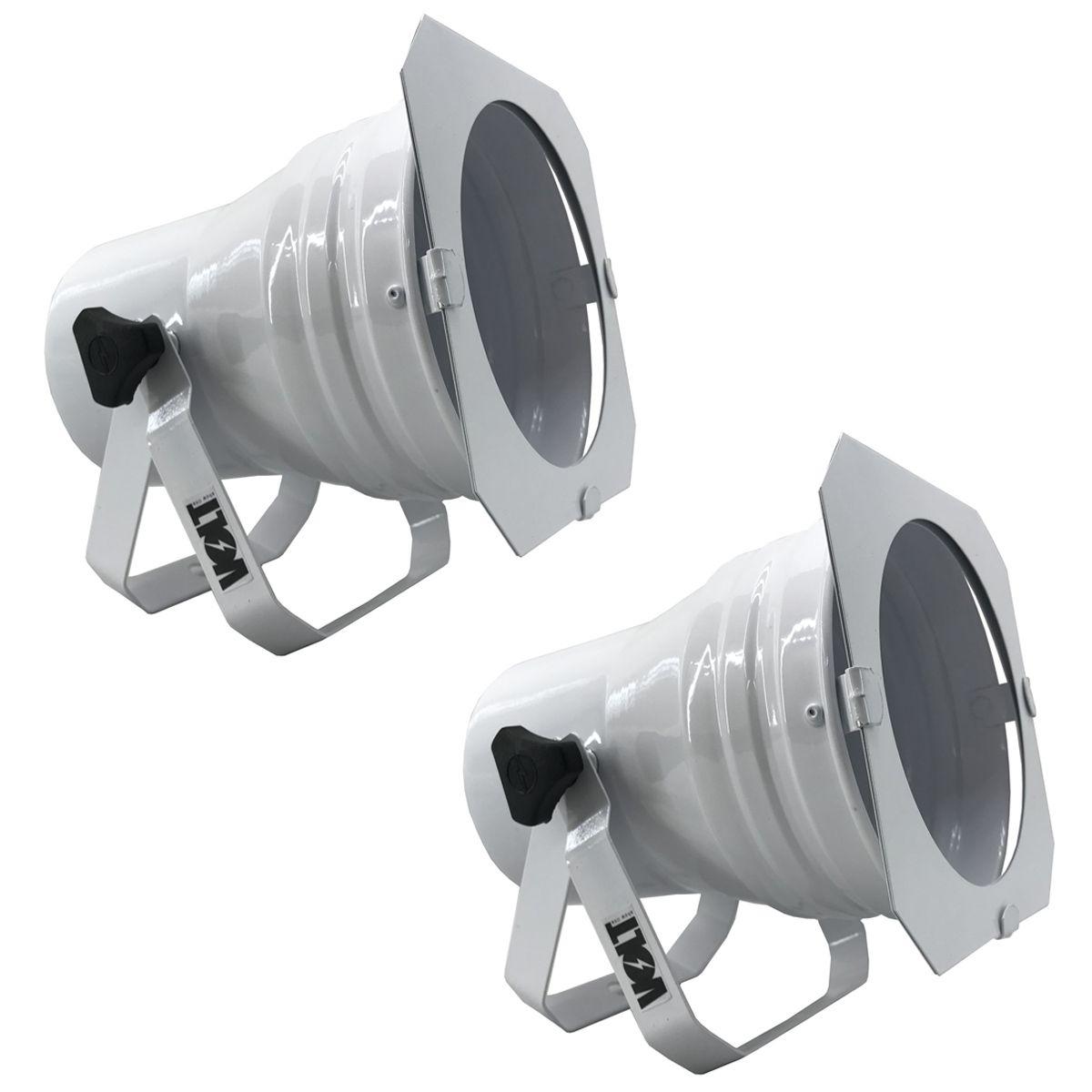 Kit 2 Unidades - Canhão Spot Par 38 Branco Alça Dupla - Volt  - RS Som e Luz!