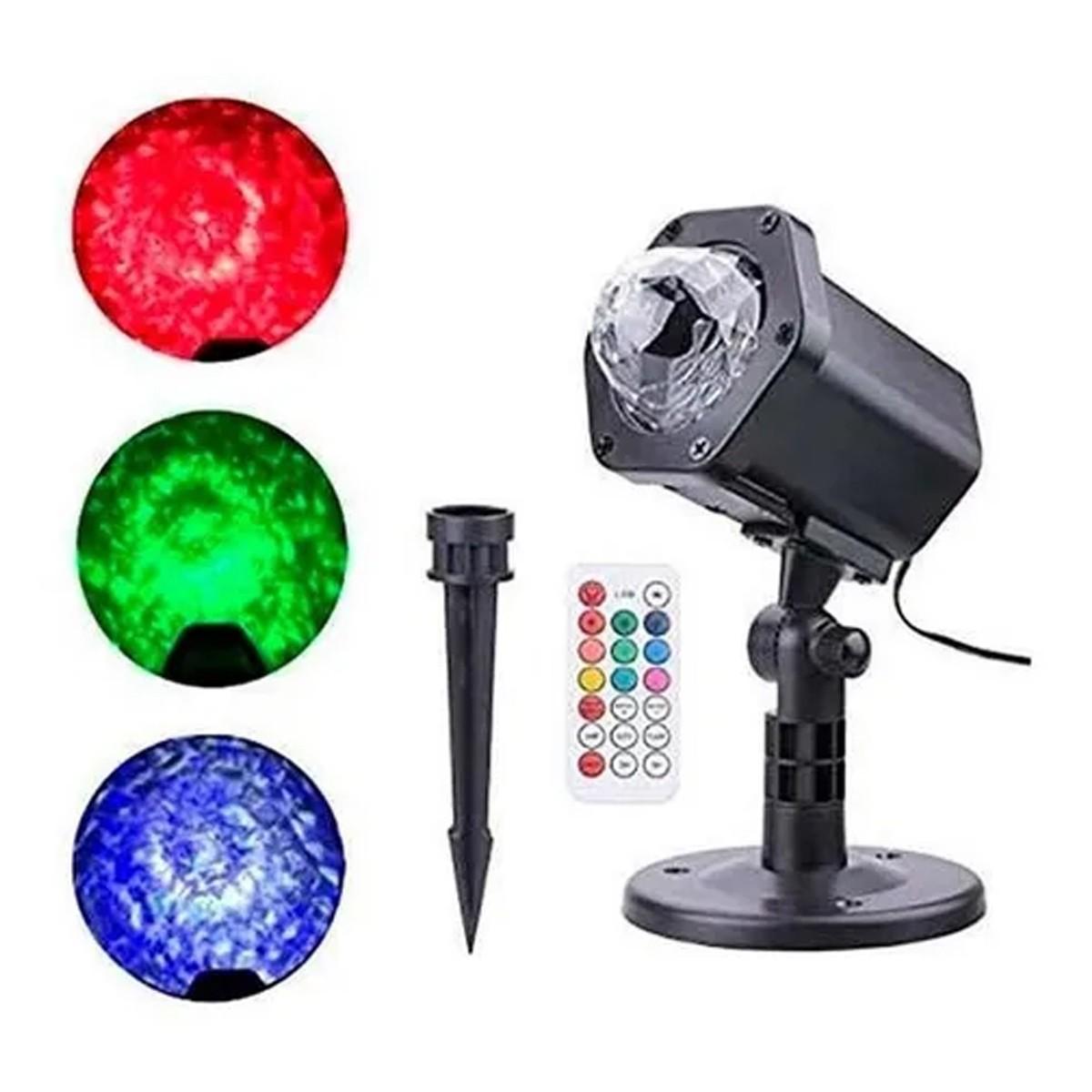 Luminaria Projetor Espeto  Jardim LED 6W RGBW Efeito Agua - Bivolt  - RS Som e Luz!