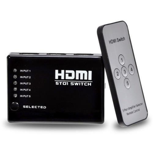 Adaptador Hub Switch Hdmi 5x1 Com Controle Remoto 5 Portas Hdmi Splitter Full Hd Para Video Game, Tv