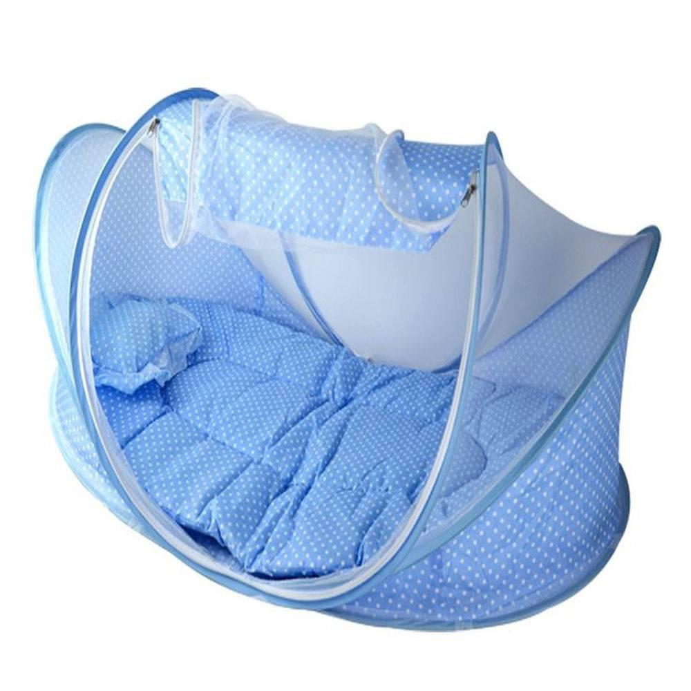 Berço Mosquiteiro Infantil Portátil Cama Colchão - Cor Azul