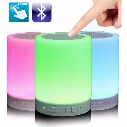 Caixa De Som Bluetooth Led Luminária Abajur Touch Mp3 Aux