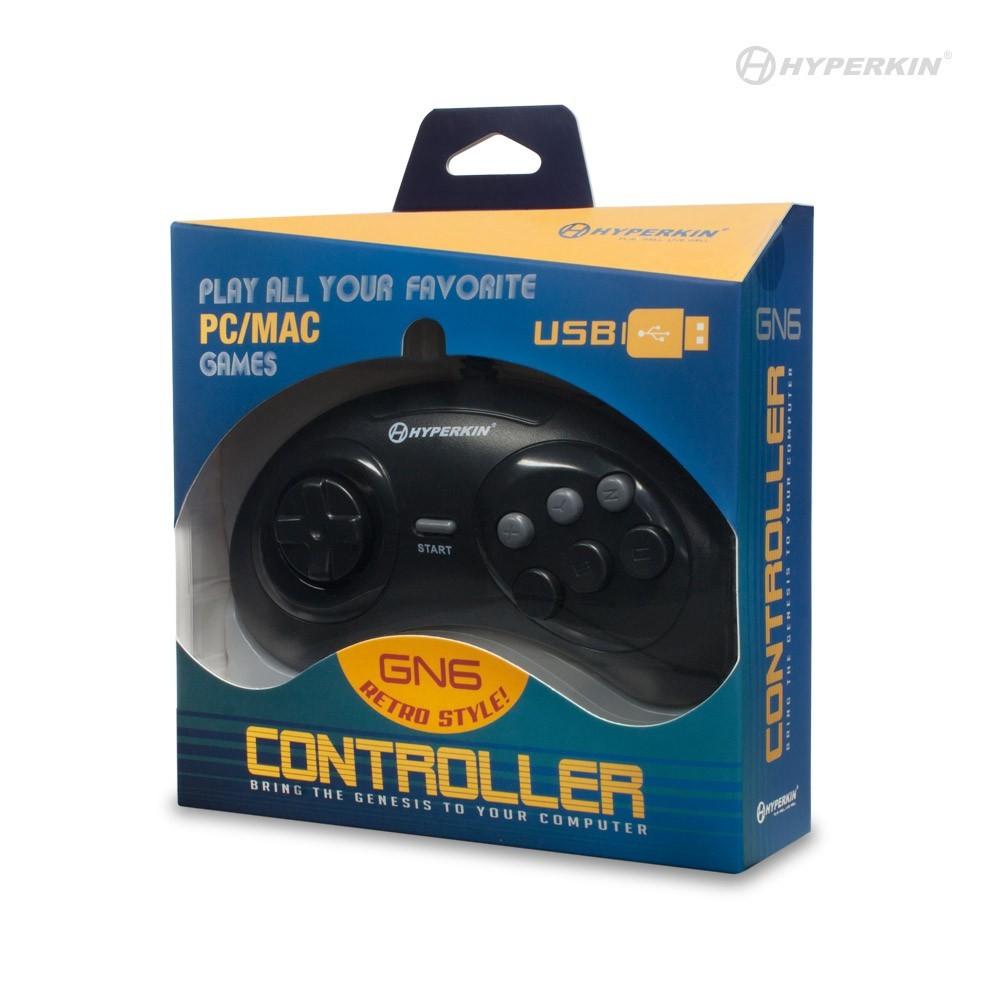 Controle GN6 USB 6 botões tipo Mega Drive para PC e MAC