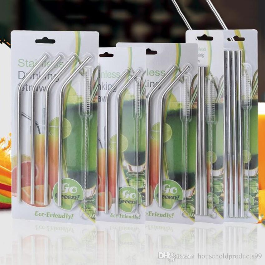 Kit 4 Canudos Reutilizáveis Curvo Aço Inox e Escova Limpeza