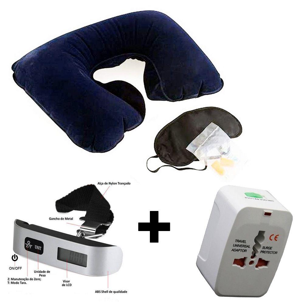 Kit Viagem 5 em 1 Almofada Pescoço Adaptador Universal Balança de Mala Protetor para os olhos e auricular