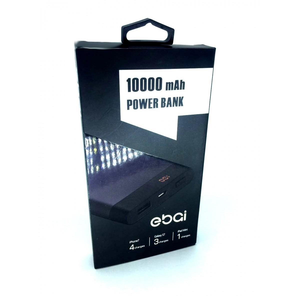 Powerbank 10.000mAh Reais Ebai Oficial com carregamento Turbo