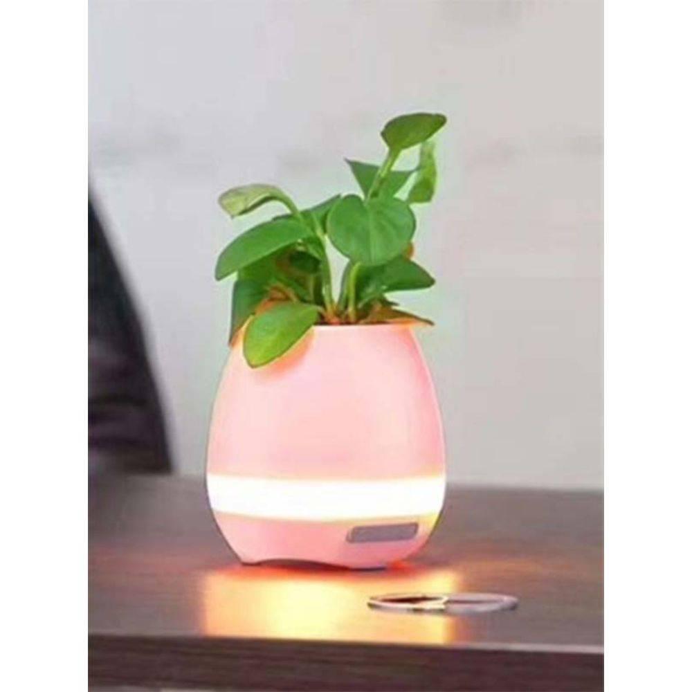 Vaso De Planta Musical C/Sensor Caixa Som Bluetooth Led Rosa