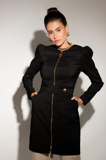 Jaleco Feminino Dayana Black com Ziper