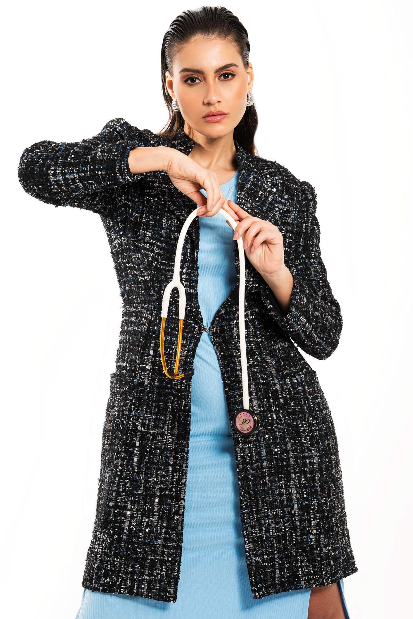 Jaleco Feminino de Inverno Trench Coat Alba Black